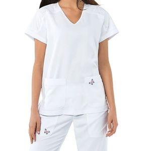 Koi Mariposa Medical Scrub Set White New